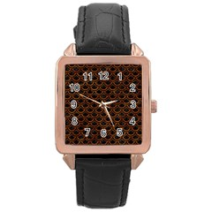 Scales2 Black Marble & Brown Marble Rose Gold Leather Watch  by trendistuff