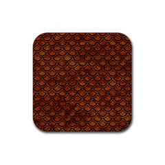 Scales2 Black Marble & Brown Marble (r) Rubber Coaster (square) by trendistuff