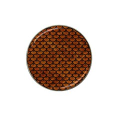 Scales3 Black Marble & Brown Marble (r) Hat Clip Ball Marker by trendistuff