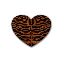 Skin2 Black Marble & Brown Marble Rubber Heart Coaster (4 Pack) by trendistuff