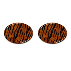 Skin3 Black Marble & Brown Marble (r) Cufflinks (oval) by trendistuff