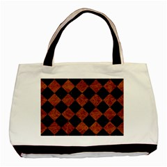 Square2 Black Marble & Brown Marble Basic Tote Bag by trendistuff