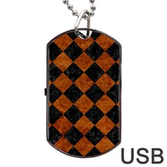 Square2 Black Marble & Brown Marble Dog Tag Usb Flash (one Side) by trendistuff