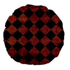 Square2 Black Marble & Brown Marble Large 18  Premium Round Cushion  by trendistuff