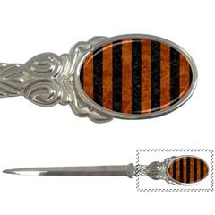 Stripes1 Black Marble & Brown Marble Letter Opener by trendistuff
