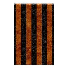 Stripes1 Black Marble & Brown Marble Shower Curtain 48  X 72  (small) by trendistuff