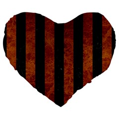 Stripes1 Black Marble & Brown Marble Large 19  Premium Flano Heart Shape Cushion by trendistuff