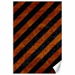 Stripes3 Black Marble & Brown Marble Canvas 24  X 36  by trendistuff