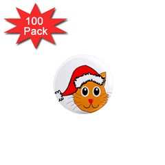Cat Christmas Cartoon Clip Art 1  Mini Magnets (100 Pack)  by Onesevenart