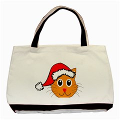Cat Christmas Cartoon Clip Art Basic Tote Bag (two Sides) by Onesevenart
