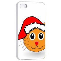 Cat Christmas Cartoon Clip Art Apple Iphone 4/4s Seamless Case (white) by Onesevenart