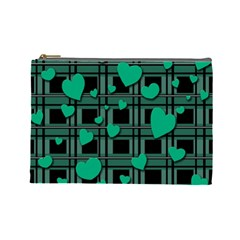 Green Love Cosmetic Bag (large)  by Valentinaart