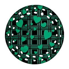 Green Love Round Filigree Ornament (2side) by Valentinaart