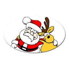 Christmas Santa Claus Oval Magnet by Onesevenart