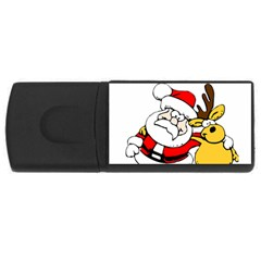 Christmas Santa Claus Usb Flash Drive Rectangular (4 Gb)  by Onesevenart