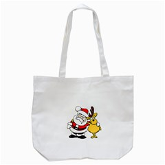 Christmas Santa Claus Tote Bag (white) by Onesevenart