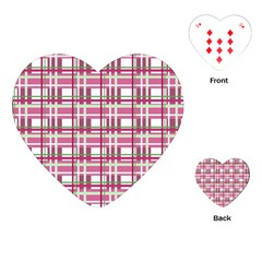 Pink Plaid Pattern Playing Cards (heart)  by Valentinaart