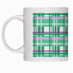 Green Plaid Pattern White Mugs by Valentinaart