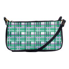 Green Plaid Pattern Shoulder Clutch Bags by Valentinaart