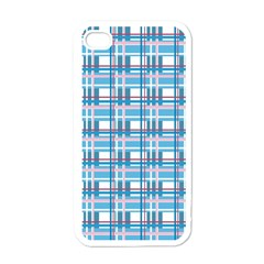 Blue Plaid Pattern Apple Iphone 4 Case (white) by Valentinaart