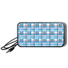 Blue plaid pattern Portable Speaker (Black)  by Valentinaart