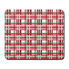 Red Plaid Pattern Large Mousepads by Valentinaart