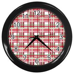 Red Plaid Pattern Wall Clocks (black) by Valentinaart