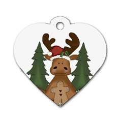 Christmas Moose Dog Tag Heart (two Sides) by Onesevenart