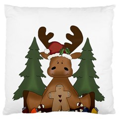 Christmas Moose Large Flano Cushion Case (one Side)