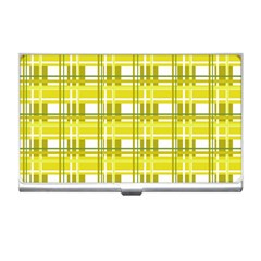 Yellow Plaid Pattern Business Card Holders by Valentinaart