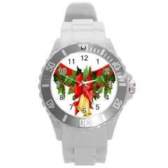 Christmas Clip Art Banners Clipart Best Round Plastic Sport Watch (l) by Onesevenart