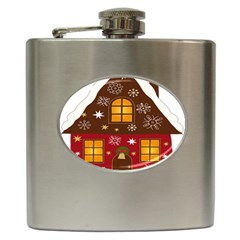 Christmas House Clipart Hip Flask (6 Oz) by Onesevenart