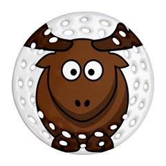 Elk Clip Art Reindeer Raindeer Elk Christmas Xmas Ornament (round Filigree)  by Onesevenart