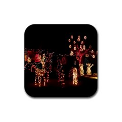 Holiday Lights Christmas Yard Decorations Rubber Square Coaster (4 Pack)  by Onesevenart