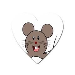 Raton Mouse Christmas Xmas Stuffed Animal Heart Magnet by Onesevenart