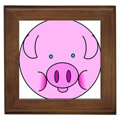 Pink Pig Christmas Xmas Stuffed Animal Framed Tiles by Onesevenart