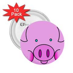 Pink Pig Christmas Xmas Stuffed Animal 2 25  Buttons (10 Pack)  by Onesevenart
