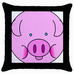 Pink Pig Christmas Xmas Stuffed Animal Throw Pillow Case (black) by Onesevenart