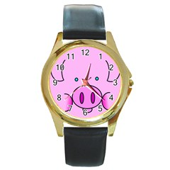 Pink Pig Christmas Xmas Stuffed Animal Round Gold Metal Watch by Onesevenart