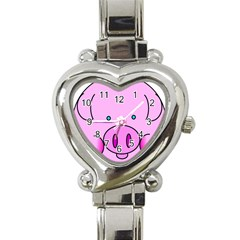 Pink Pig Christmas Xmas Stuffed Animal Heart Italian Charm Watch by Onesevenart