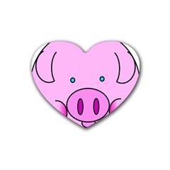 Pink Pig Christmas Xmas Stuffed Animal Rubber Coaster (heart)  by Onesevenart