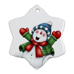 Snowman With Scarf Snowflake Ornament (2 Side) by Onesevenart