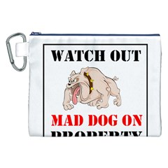 Watch Out Mad Dog On Property Canvas Cosmetic Bag (xxl) by Onesevenart