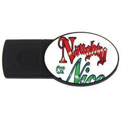 Vintage Christmas Naughty Or Nice Usb Flash Drive Oval (4 Gb)  by Onesevenart