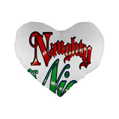 Vintage Christmas Naughty Or Nice Standard 16  Premium Heart Shape Cushions by Onesevenart