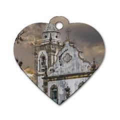 Exterior Facade Antique Colonial Church Olinda Brazil Dog Tag Heart (two Sides) by dflcprints