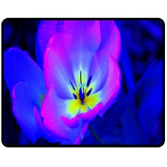 Blue And Purple Flowers Double Sided Fleece Blanket (medium)  by AnjaniArt