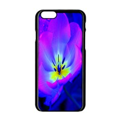 Blue And Purple Flowers Apple Iphone 6/6s Black Enamel Case by AnjaniArt