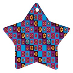 Batik Star Ornament (two Sides)  by AnjaniArt