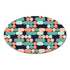 Coral Mint Color Style Oval Magnet by AnjaniArt